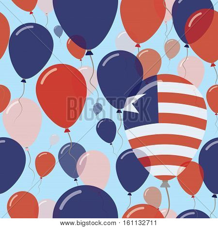 Liberia National Day Flat Seamless Pattern. Flying Celebration Balloons In Colors Of Liberian Flag.