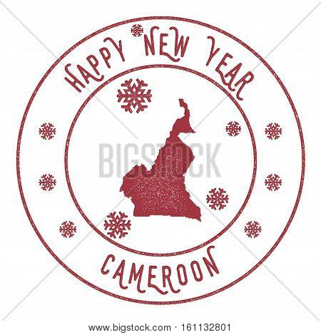 Retro Happy New Year Cameroon Stamp. Stylised Rubber Stamp With County Map And Happy New Year Text,