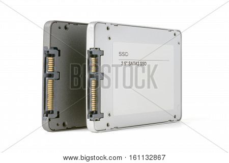 couple solid state SATA drives on the white background two SSD