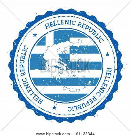 Greece Map And Flag In Vintage Rubber Stamp Of State Colours. Grungy Travel Stamp With Map And Flag