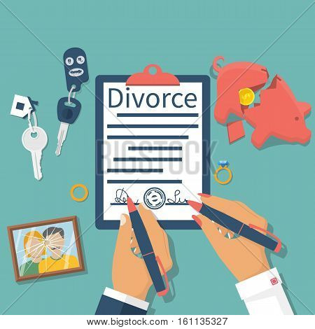 Divorce concept. Meeting husband and wife to sign agreement divorce papers. Property division: money car house. Vector illustration flat design. Form signed stamp. Broken picture. End of marriage.