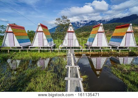 Ranau,Sabah-Dec 11,2016:Colorful huts at the Mt Kinabalu Holiday Camp at Ranau,Sabah,Borneo.The visitor can enjoying a clear view of the Mt Kinabalu & the breathtaking expanse of the montane forest.