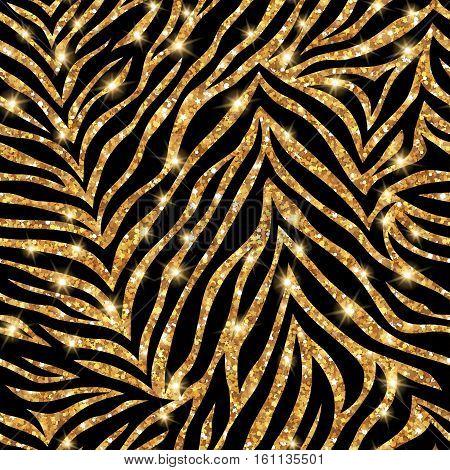 Seamless gold zebra pattern. Vector illustration. Shining fashion wild background. Chic animal print. Glittering festive backdrop or tiling.