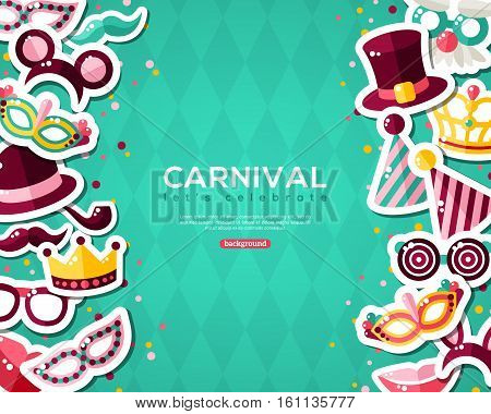 Carnival Banner With Flat Sticker Icons Set. Vector illustration. Masquerade Concept. Vertical Borders with Masks, Clown Cap, Smiling Lips, Princess Crown on Blue Background.