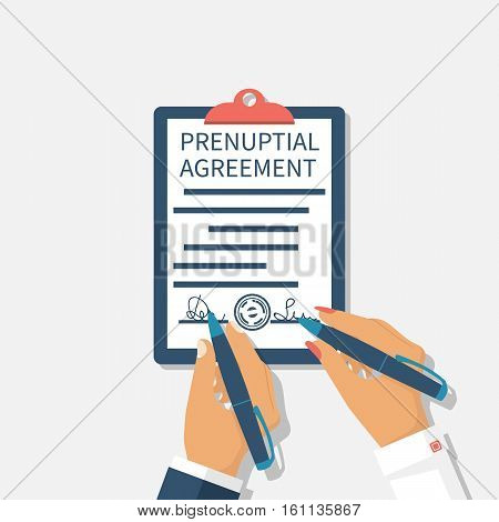 Man And Woman Sign Prenuptial Agreement