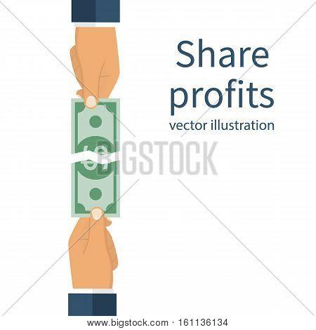 Two Businessman Conflict Share Profit