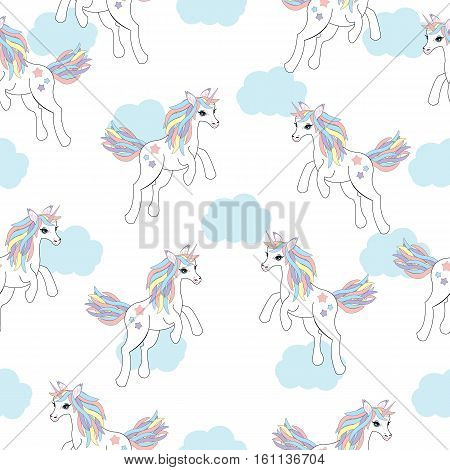 Seamless background of animal illustration with cute unicorn on blue cloud background suitable for kid wallpaper, scrap paper, and postcard