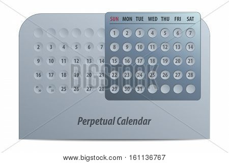 Vector Illustration of a Silver Perpetual Calendar