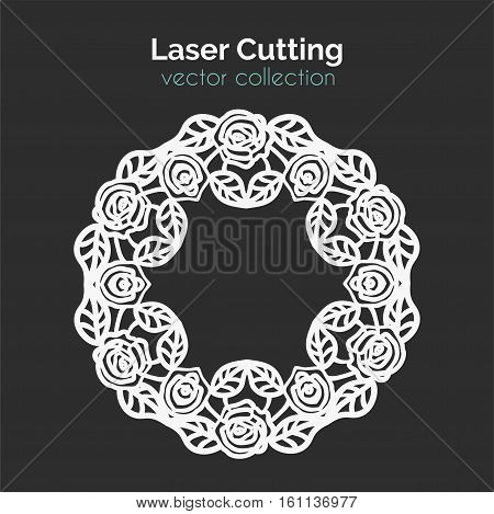 Laser Cutting Template. Round Card with Roses. Die Cut Mangala. Cutout Illustration With Ornamental Lace Decoration For Wedding Invitation Cards. Vector Design.