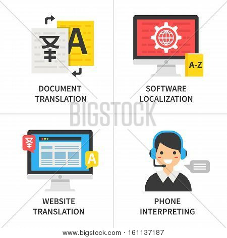 Translation service concept. Document translation software localization website translation phone interpreting. Vector illustration.