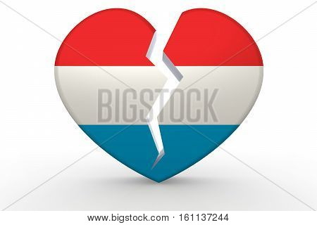 Broken White Heart Shape With Luxembourg Flag