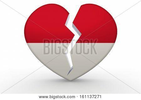 Broken White Heart Shape With Monaco Flag