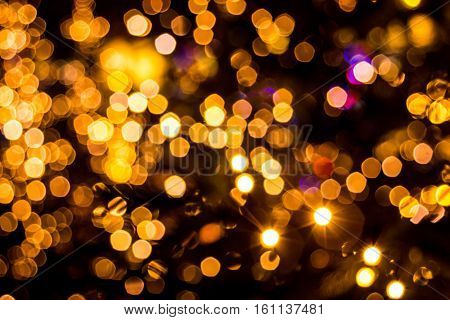 Bokeh-abstract: The warmth of the night full of glamour and splendor.