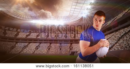 3D Rugby player running with the rugby ball against rugby stadium