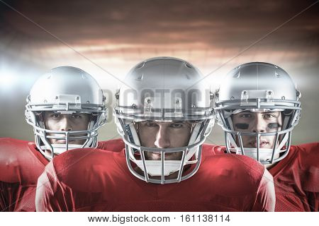 3D American football team against rugby pitch