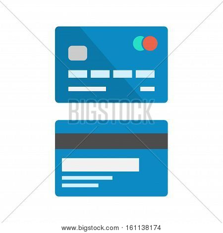 Debit card vector set isolated from background. The front and back side of an ATM card in a flat style. Simple design icons blue bank credit card.