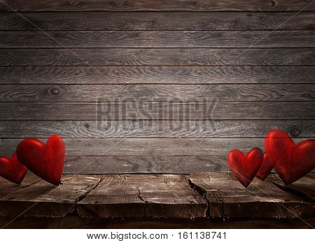Valentines day. Valentines background with table and bokeh. Love red background. Valentines day empty display