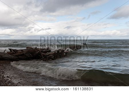 Lake Superior, Waves breaking on the Whitefish Point beach, Chippewa County, Michigan, USA