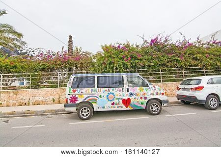 Hippie Car With Peace Message