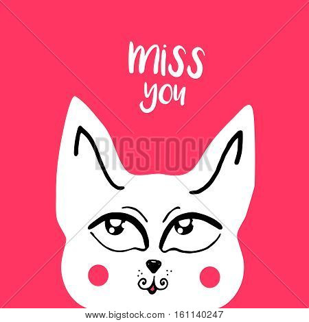 vector card, banner lettering letters I miss you, cute cartoon cat with a thoughtful look, saying emotions, feelings, print on T-shirt.