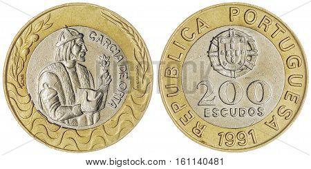 200 Escudos 1991 Coin Isolated On White Background, Portugal