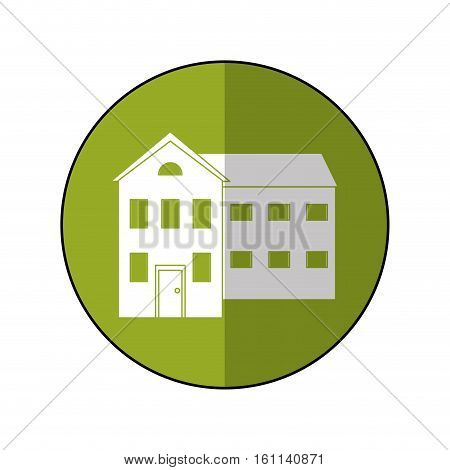 big house and many windows circle vector illustration eps 10