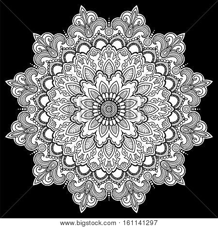 Mandala Vector tattoo. Perfect card for any other kind of design, birthday and other holiday, kaleidoscope, medallion, yoga, india or arabic.