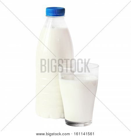 A bottle of rustic milk and glass of milk isolated on white background