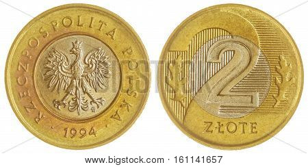 2 Zloty 1994 Coin Isolated On White Background, Poland