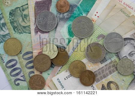 All that money. Banknotes and coins from different europian countries