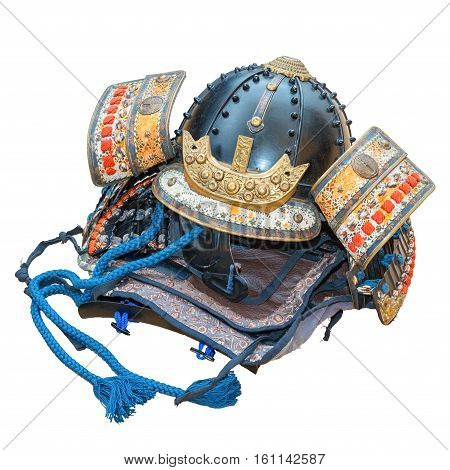 Retro styled or retro color traditional Japanese Samurai War Helmet isolated on white background.