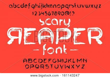 Hand made Scribble Font Scary Reaper. Custom handwritten letters and numbers. Vintage retro textured typeface grunge effect. Vector alphabet illustration.