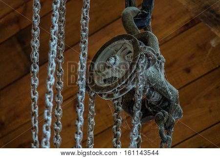 The Old Dusty And Rusty Winch In A Room
