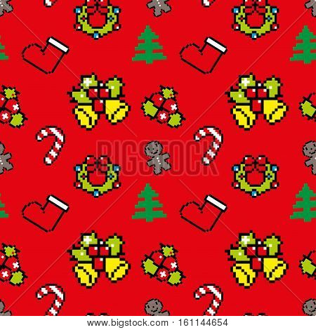 Background With Christmas Symbols Pixel Art Winter Pattern Red Color