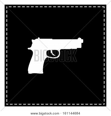 Gun Sign Illustration. Black Patch On White Background. Isolated