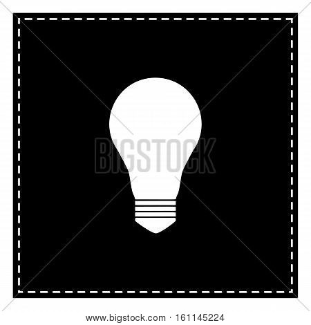 Light Lamp Sign. Black Patch On White Background. Isolated.