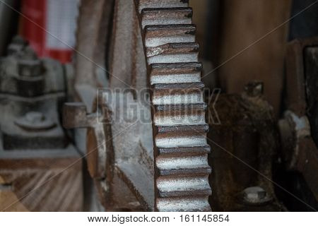 .the Pinion Gear Of An Old Mechanical Device