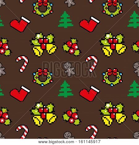 Background With Christmas Symbols Pixel Art Winter Pattern Brown Color