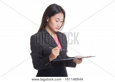 Young Asian Business Woman With Pen And Clipboard..