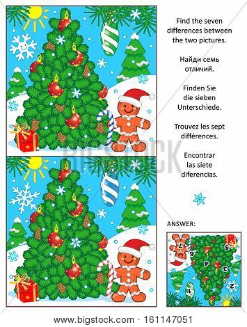 New Year or Christmas visual puzzle: Find the seven differences between the two pictures with christmas tree and ginger man. Answer included.