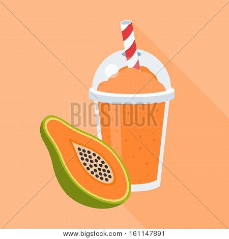 Papaya smoothie in plastic glass with a piece of papaya, flat design icon