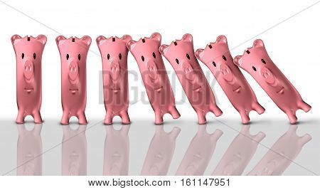 Financial collapse concept and economic crisis symbol as a group of piggy banks falling like domino pieces as a finance trouble and bankruptcy risk metaphor as a 3D illustration.