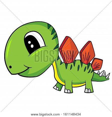 Illustration of Cute Black and White Cartoon of Baby Stegosaurus Dinosaur. Vector EPS 8.