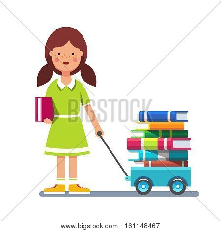 School girl kid pulling wagon cart with pile of books. Little pupil hungry for knowledge. Colorful flat style cartoon vector illustration isolated on white background.
