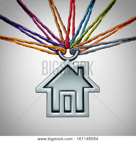 Community house concept and neighborhood group home support symbol as a diverse set of ropes holding up an icon of a family residence with 3D illustration elements.