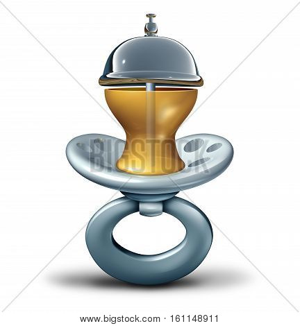 Baby service concept and child care services symbol as an infant pacifier shaped as a hospitality bell on a white background as a healthcare metaphor for babysitting or parenting advice as a 3D illustration.
