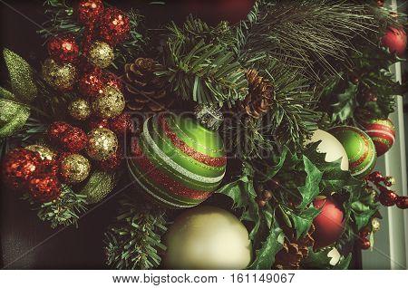 Beautiful Christmas Holiday Wreath Hanging On Front Door