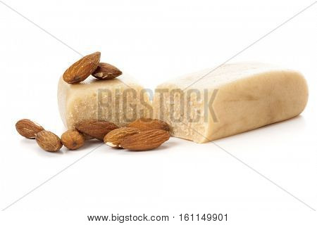 Marzipan bar with almonds isolated on white background