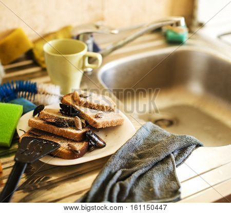 dirty kitchen pile of filthy dishes infested with roaches, lifestyle concept close up