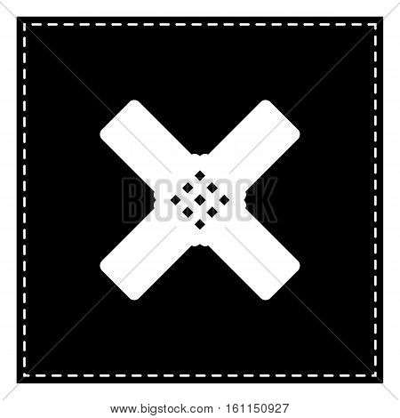 Aid Sticker Sign. Black Patch On White Background. Isolated.